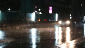 Defocused night traffic lights on a Rainy Day in Samutprakarn,Thailand. With Rain Reflection stock video footage