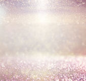 Defocused pink purple and gold lights background photo Stock Photo
