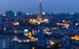 Defocused plamy bokeh tło bridżowy Bangkok rama Thailand viii Obrazy Stock