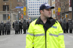 A defocused police officer. royalty free stock image