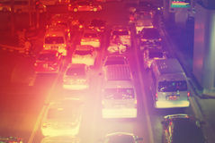Defocused Road Big City Stopper Car Multy Toned. Defocused Road Big City Stopper Car Multy Color Toned Bright Background Stock Photography