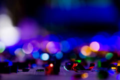 Defocused rozrywka koncerta oświetlenie na scenie, bokeh fotografia stock