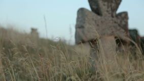 Defocused Tomb With A Cross stock video footage