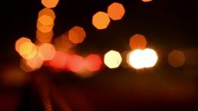 Defocused Traffic Lights. At Night stock footage