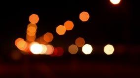Defocused Traffic Lights. At Night stock video footage