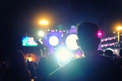 Defocused Unterhaltungskonzertbeleuchtung auf Stadium, unscharfe Disco Lizenzfreie Stockfotografie