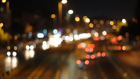 Defocused urban abstract texture ,blurred. Artistic style - Defocused urban abstract texture ,blurred background with bokeh of city lights from car on street at stock video