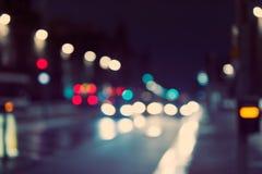 Defocused, vage stedelijke abstracte verkeersachtergrond Stock Fotografie
