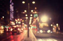 Defocused, vage stedelijke abstracte verkeersachtergrond Stock Foto's