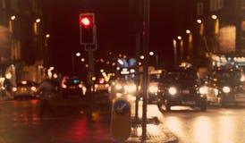 Defocused, vage stedelijke abstracte verkeersachtergrond Royalty-vrije Stock Fotografie