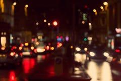 Defocused, vage stedelijke abstracte verkeersachtergrond Royalty-vrije Stock Afbeelding
