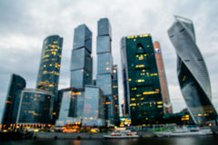 Defocused view of International Business Center Moscow City Royalty Free Stock Photo
