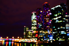 Defocused view of International Business Center Moscow City Royalty Free Stock Images