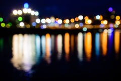 Defocused view of the Moscow River at night Royalty Free Stock Photos