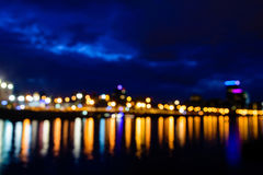 Defocused view of the Moscow River at night Stock Photos