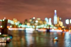 New-York City. Defocused view of New-York City downtown from Brooklyn at night Stock Image