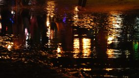 Defocused view of the night beach reflection. Defocused view of the night beach reflecting in the sea water stock video footage