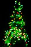 Defocused Weihnachtsbaum-Leuchten stockfoto