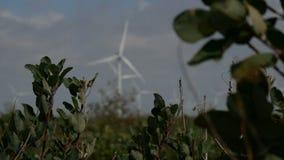 Defocused Windkraftanlagehintergrund des bewölkten Himmels stock video