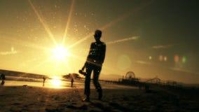 Defocused Woman Silhouette at Beach stock footage