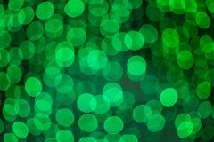 Defocused zielonych świateł tła abstrakcjonistyczna fotografia Obrazy Royalty Free