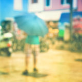 Defocussed vintage rainy street view Stock Photo