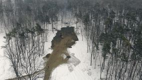 Deforestation and clearing of the area in winter