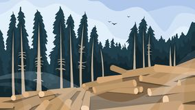 Deforestation concept. Chopping forest, destruction of wood. Danger for ecology and air pollution. Vector illustration in cartoon style stock illustration