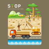 Deforestation concepts flat design Stock Images