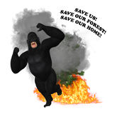 Deforestation Fire Forest Saving Wildlife Animal Illustration. A gorilla is running for his life with the fire engulfing his forest home Stock Photos