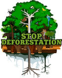 Deforestation jungle vector illustration. Vector Rainforest destroyed with animals. Royalty Free Stock Photo