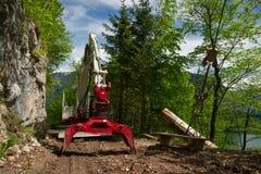 Deforestation. Knuckleboom log loader used for deforestation in clearing Stock Photography