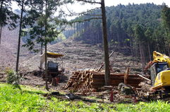 Deforestation. A land being deforested and a tractor Stock Images