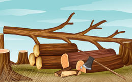Deforestation scene with firewoods and axe Royalty Free Stock Image