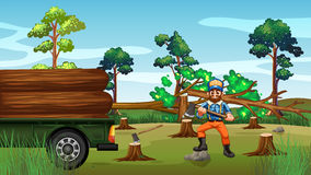 Deforestation scene with lumber chopping trees Stock Image