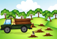 Deforestation scene with truck loaded with logs. Illustration Royalty Free Stock Photos
