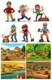 Deforestation scenes with lumber jacks. Illustration Stock Photo
