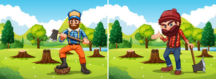 Deforestation scenes with two lumberjacks Stock Photography