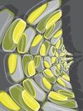 Deformación verde y amarilla del disco retro Fotos de archivo