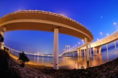Deformation of bridge at night scene Royalty Free Stock Photo