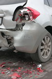 Deformation of the car. For transport a result of road accidents - a broken back and side parts Stock Photo