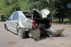 Deformation of the car. For transport a result of road accidents - a broken back and side parts Stock Photography