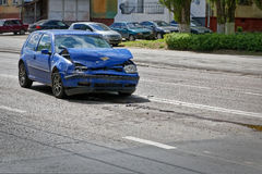 Deformation of the car. For transport a result of road accidents - a broken back and side parts Royalty Free Stock Image