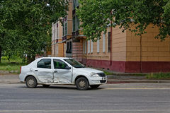 Deformation of the car. For transport a result of road accidents - a broken back and side parts Stock Photos