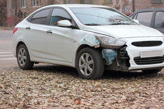 Deformation of the car. For transport a result of road accidents -torn down front right fender Stock Photos