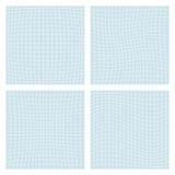 Deformation grid. Set of four spatial forms - convex, concave, stock illustration