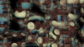 Deformation of the pipe and the rotation of the clock stock footage