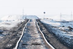 Deformation of the railway line, built in the permafrost. Stock Photo