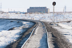 Deformation of the railway line, built in the permafrost. Polar tundra, Russia Stock Photo