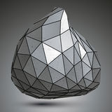 Deformed asymmetric 3d abstract object, grayscale graphic Stock Photo